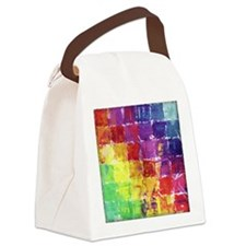 Geometric Squares Watercolor Canvas Lunch Bag