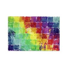 Geometric Squares Watercolor Rectangle Magnet (100