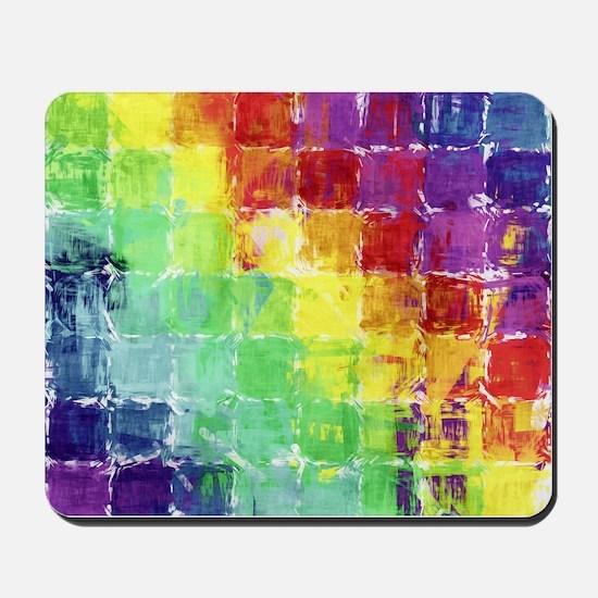 Geometric Squares Watercolor Mousepad