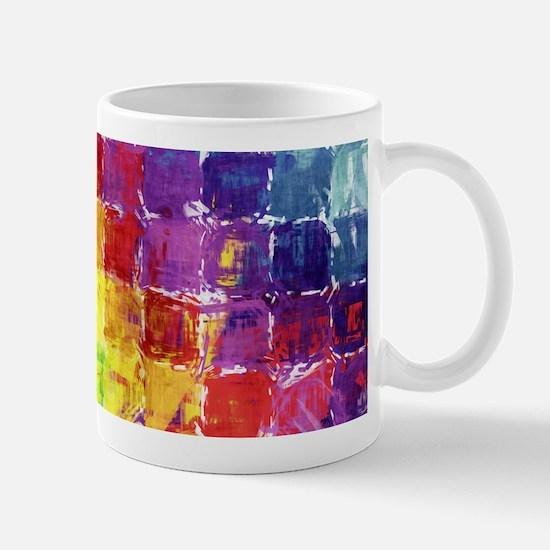 Geometric Squares Watercolor Mug