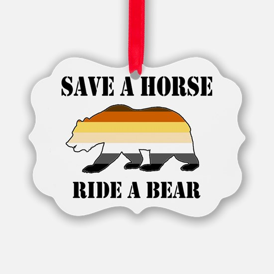 Gay Bear Save A Horse Ride A Bear Ornament