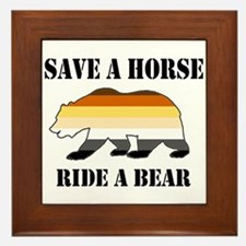 Gay Bear Save a Horse Ride a Bear Framed Tile