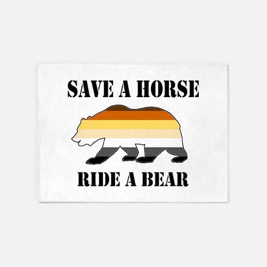 Gay Bear Save a Horse Ride a Bear 5'x7'Area Rug