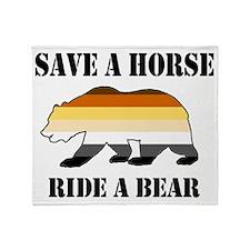Gay Bear Save A Horse Ride A Bear Throw Blanket