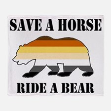 Gay Bear Save A Horse Ride A Bear Throw Blanket