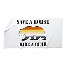 Gay Bear Save A Horse Ride A Bear Beach Towel