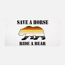 Gay Bear Save A Horse Ride A Bear Beach Towel