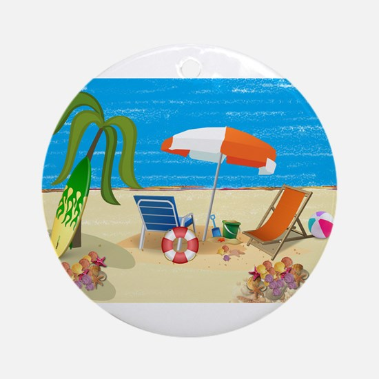 Summer Beach Fun Ornament (Round)