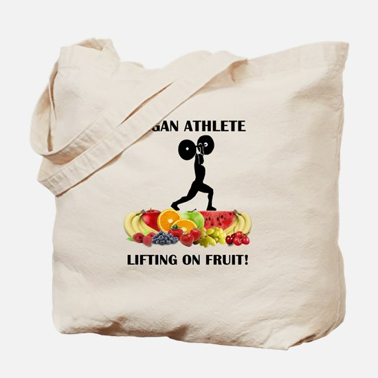 Vegan Athlete Lifting on Fruit Tote Bag