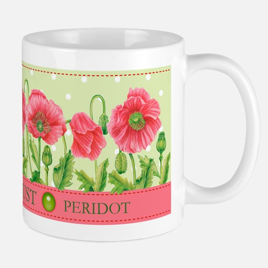 Birth Flowers and Gem Mug August