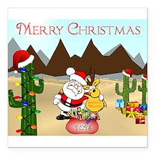 "Christmas In The Desert Square Car Magnet 3"" x 3"""