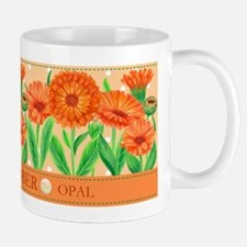Birth Flowers and Gem Mug October