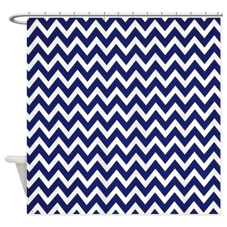 True Blue Chevron Shower Curtain By Chevroncitystripes