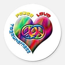 Cute Peace love coexist Round Car Magnet