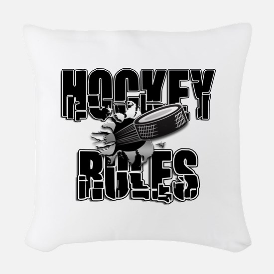 Hockey Rules Woven Throw Pillow