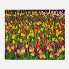 Colorful spring tulips garden Throw Blanket