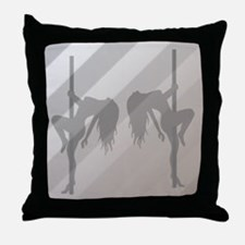 Stripper Silhouette Pole Dance Grey Throw Pillow