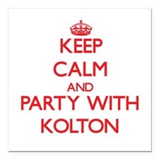 Keep Calm and Party with Kolton Square Car Magnet