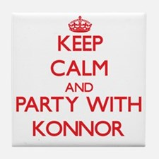 Keep Calm and Party with Konnor Tile Coaster