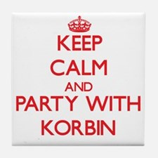 Keep Calm and Party with Korbin Tile Coaster