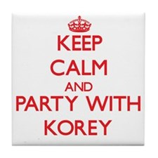 Keep Calm and Party with Korey Tile Coaster