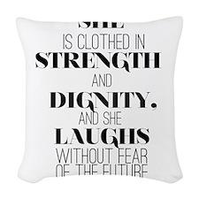 Strength Plain Woven Throw Pillow