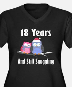 18th Anniversary Snuggling Owls Women's Plus Size
