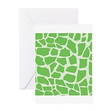 Green Giraffe pattern Greeting Cards