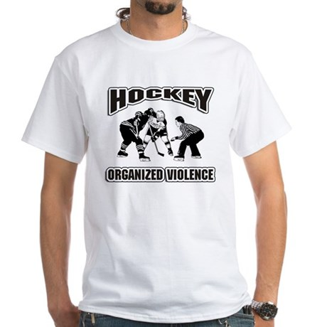 Hockey Organized Violence White T-Shirt