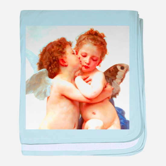 Cupids Kiss by Bouguereau baby blanket