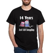 14th Anniversary Snuggling Owls T-Shirt