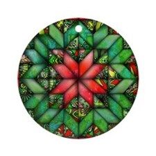 Red and Green Quilt Ornament (Round)