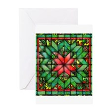 Red and Green Quilt Greeting Cards