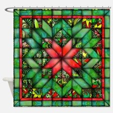 Red and Green Quilt Shower Curtain