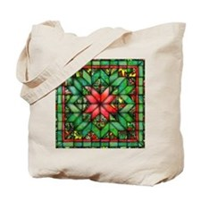 Red and Green Quilt Tote Bag