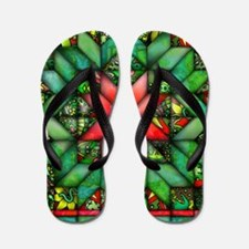 Red and Green Quilt Flip Flops