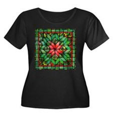 Red and Green Quilt Plus Size T-Shirt