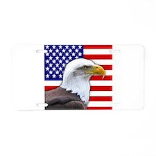 USA flag bald eagle Aluminum License Plate
