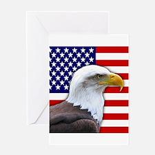 USA flag bald eagle Greeting Cards