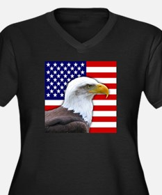USA flag bald eagle Plus Size T-Shirt