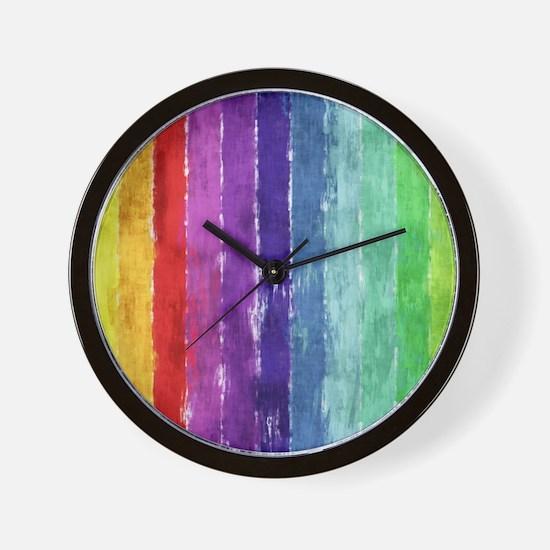 Geometric Stripes Watercolor Wall Clock