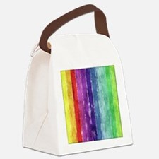 Geometric Stripes Watercolor Canvas Lunch Bag