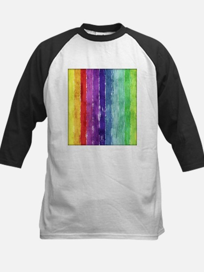 Geometric Stripes Watercolor Kids Baseball Jersey