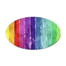 Geometric Stripes Watercolor Oval Car Magnet