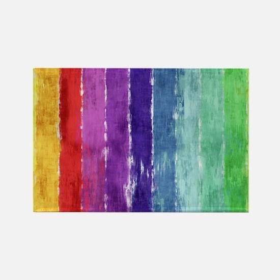 Geometric Stripes Watercolor Rectangle Magnet