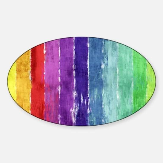 Geometric Stripes Watercolor Sticker (Oval)