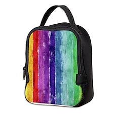 Geometric Stripes Watercolor Neoprene Lunch Bag