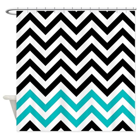 Black And Turquoise Chevrons Shower Curtain By