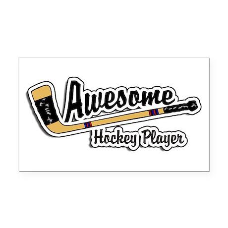 Hockey Player Rectangle Car Magnet