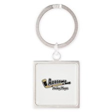 Hockey Player Square Keychain